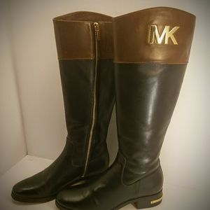 Michael Kors black/brown leather riding boot sz6.5